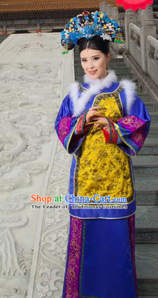 Traditional Ancient Chinese Imperial Consort Costume, Chinese Qing Dynasty Manchu Palace Lady Dress, Cosplay Chinese Manchu Minority Imperial Consort Clothing for Women