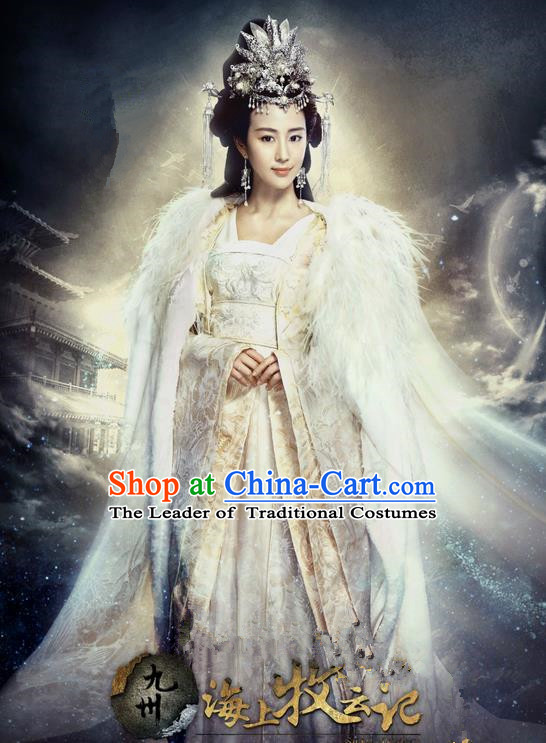 Traditional Ancient Chinese Imperial Emperess Costume Complete Set, Chinese Han Dynasty Emperess Dress, Cosplay Chinese Imperial Princess Embroidered Clothing for Women