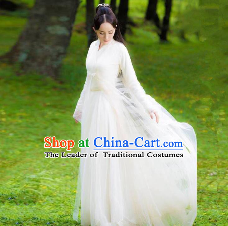 Traditional Ancient Chinese Imperial Emperess Costume, Chinese Han Dynasty Dance Dress, Cosplay Chinese Teleplay Ten great III of peach blossom Role Bai qian Peri Imperial Princess White Hanfu Clothing for Women