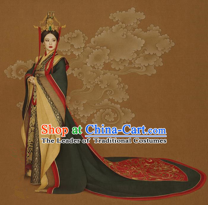 Traditional Ancient Chinese Imperial Queen Mother Costume, Chinese Han Dynasty Imperial Empress Dowager Dress, Cosplay Chinese Empress Dowager Tailing Clothing Hanfu for Women