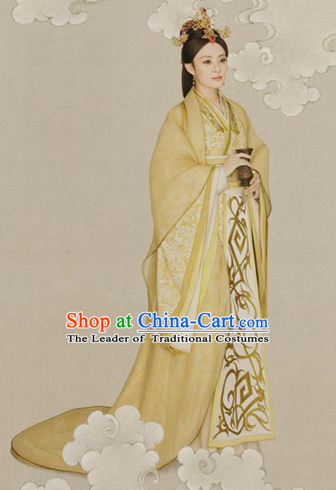 Traditional Ancient Chinese Imperial Emperess Costume, Chinese Han Dynasty Imperial Consort Dress, Cosplay Chinese Princess Embroidered Clothing Hanfu for Women