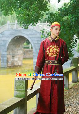 Traditional Ancient Chinese Qing Dynasty Imperial Prince Robes, Manchu Imperial Emperor Dragon Costumes for Men