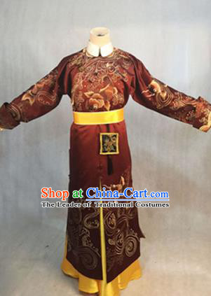 Traditional Ancient Chinese Imperial Emperor Costume, Chinese Qing Dynasty Manchu Dress, Cosplay Chinese Manchu Minority Majesty Embroidered Clothing for Men