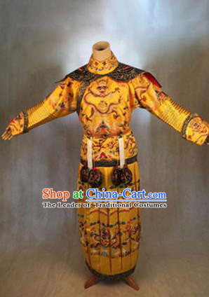 Traditional Ancient Chinese Imperial Emperor Costume, Chinese Qing Dynasty Manchu Dress, Cosplay Chinese Manchu Minority Majesty Embroidered Dragon Clothing for Men