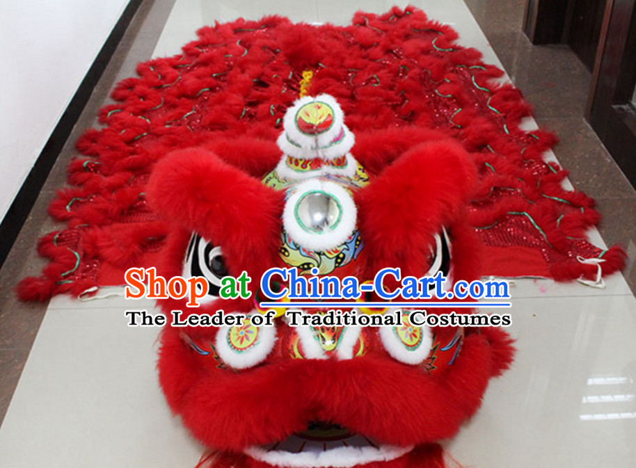 Lucky Red New 100_ Long Wool Lion Dance Costume Complete Set