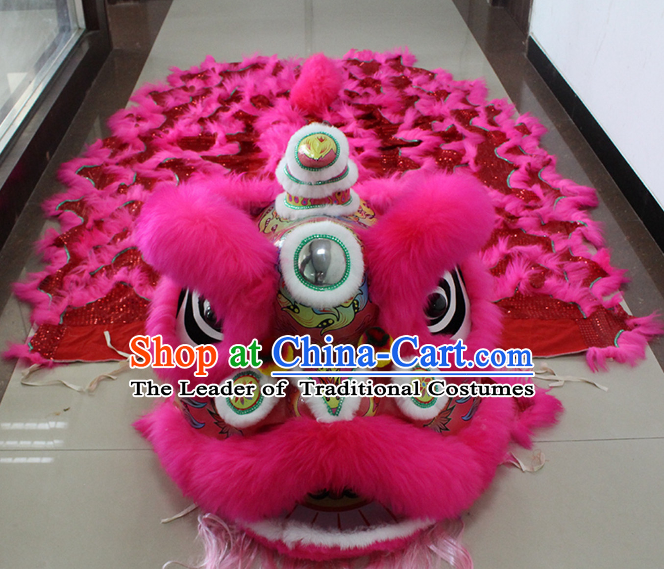 Pink New 100_ Long Wool Lion Dancing Costume Complete Set
