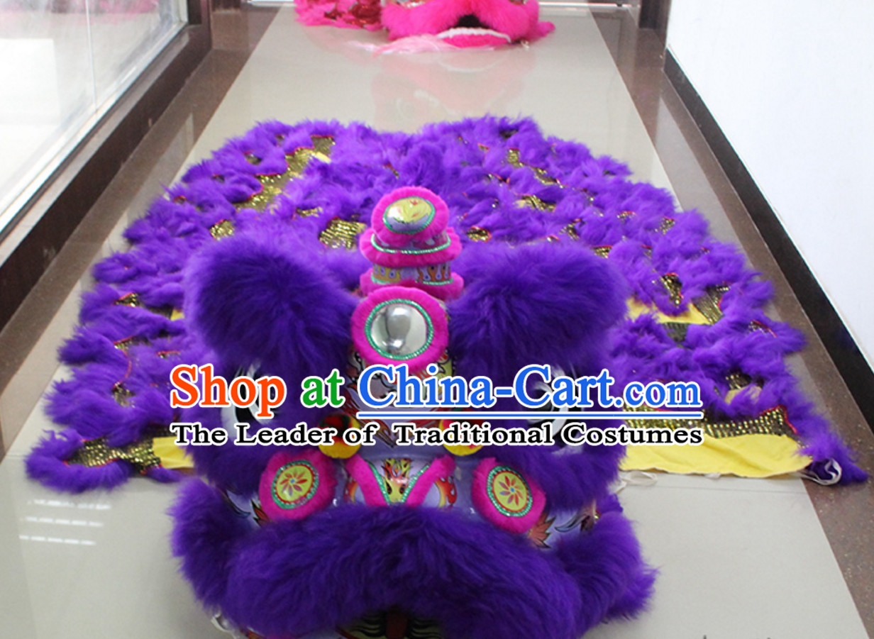 Purple New 100_ Long Wool Lion Dancing Costume Complete Set