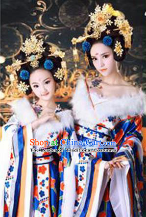 Traditional Ancient Chinese Imperial Empress Costume, Chinese Tang Dynasty Children Dance Dress, Cosplay Chinese Princess Clothing Hanfu for Kids