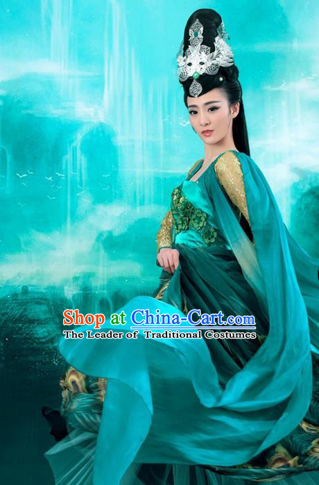 Traditional Ancient Chinese Imperial Emperess Costume, Chinese Classic Dance Dress, Cosplay Fairy Tale Chinese Peri Imperial Princess Clothing for Women