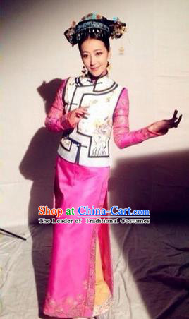 Traditional Ancient Chinese Imperial Emperess Costume, Chinese Qing Dynasty Palace Lady Dress, Chinese Manchu Princess Clothing for Women