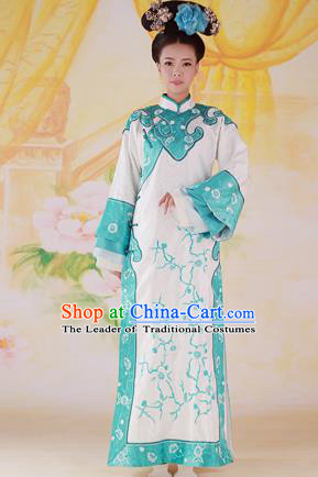 Traditional Ancient Chinese Imperial Consort Costume, Chinese Qing Dynasty Manchu Palace Lady Dress, Cosplay Chinese Mandchous Imperial Concubine Embroidered Clothing for Women