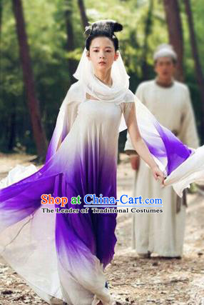 Traditional Ancient Chinese Swordswoman Costume, Chinese Han Dynasty Fairy Dress, Cosplay Game Character Chinese Peri Clothing for Women