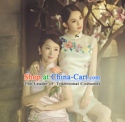Traditional Chinese Female Costumes Chinese Classic Clothes Chinese Silk Embroidered Cheongsam Tang Suits Dress for Women