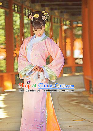 Traditional Ancient Chinese Imperial Consort Costume, Chinese Qing Dynasty Manchu Emperess Pink Dress, Cosplay Chinese Mandchous Imperial Concubine Purple Embroidered Clothing for Women