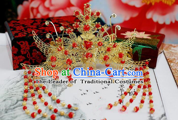 Chinese Wedding Jewelry Accessories, Traditional Xiuhe Suits Wedding Bride Phoenix Headwear, Wedding Hair Crown, Ancient Chinese Harpins for Women