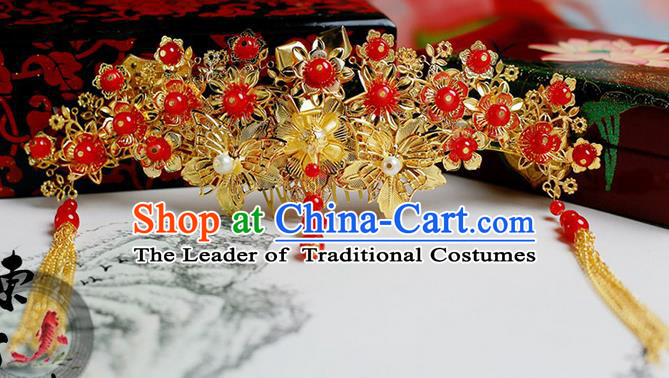 Chinese Wedding Jewelry Accessories, Traditional Xiuhe Suits Wedding Bride Flowers Headwear, Wedding Hair Crown, Ancient Chinese Harpins for Women