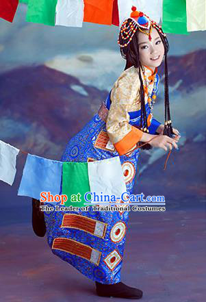 Traditional Chinese Mongol Nationality Dancing Costume, Mongols Children Folk Dance Ethnic Pleated Skirt, Chinese Mongolian Minority Nationality Embroidery Costume for Kids