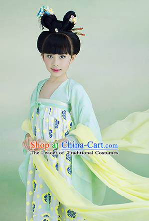 Traditional Ancient Chinese Children Costume, Chinese Tang Dynasty Little Lady Dress, China Hanfu Clothing for Kids