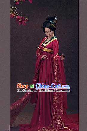 Traditional Ancient Chinese Imperial Consort Costume, Chinese Tang Dynasty Lady Red Dress, Cosplay Chinese Imperial Concubine Clothing Hanfu for Women
