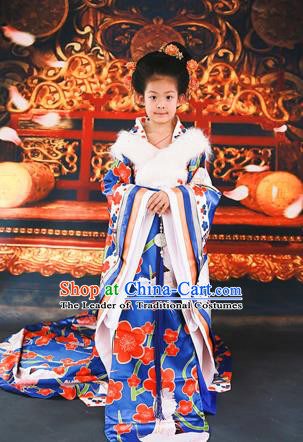 Traditional Ancient Chinese Imperial Consort Children Costume, Chinese Tang Dynasty Little Girl Dress, Cosplay Chinese Concubine Embroidered Peony Clothing Tailing Hanfu for Kids