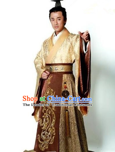 Traditional Ancient Chinese Imperial Emperor Costume, Chinese Han Dynasty Emperor Dress, Cosplay Chinese Majesty Embroidered Clothing Dragon Hanfu Complete Set for Men