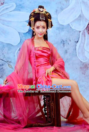 Traditional Ancient Chinese Imperial Emperess Costume, Chinese Tang Dynasty Palace Lady Rose Dress, Cosplay Chinese Imperial Concubine Clothing Sexy Hanfu for Women
