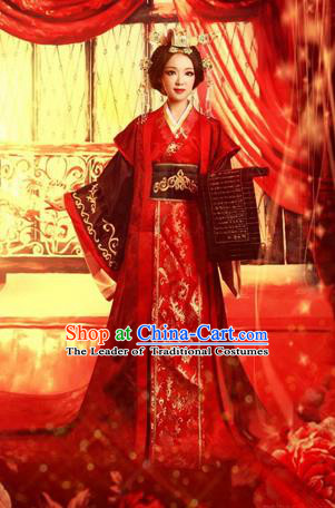 Traditional Ancient Chinese Imperial Emperess Wedding Costume, Chinese Han Dynasty Queen Wedding Dress, Cosplay Chinese Emperess Embroidered Clothing Phoenix Hanfu for Women