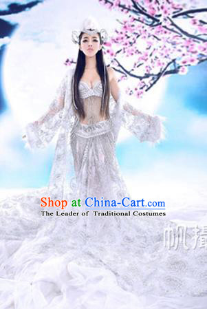 Traditional Ancient Chinese Flying Imperial Consort Costume, Chinese Tang Dynasty Flying Lady Dress, Cosplay Chinese Fairy Imperial Concubine White Clothing Hanfu for Women