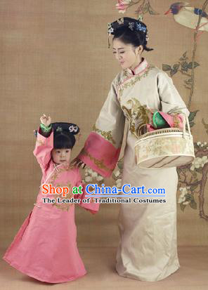 Traditional Ancient Chinese Imperial Princess and Empress Costume, Chinese Qing Dynasty Children and Mother Dress, Chinese Manchu Imperial Lady Clothing for Women