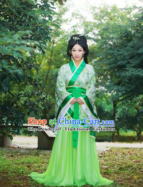 Traditional Ancient Chinese Imperial Emperess Costume, Chinese Han Dynasty Princess Young Lady Dress, Cosplay Chinese Peri Concubine Embroidered Hanfu Clothing for Women