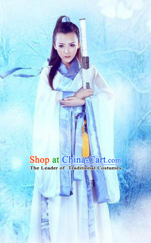 Traditional Ancient Chinese Female Costume, Chinese Ancient Swordswoman Dress, Cosplay Chinese Chivalrous Swordsman Trailing Clothing for Women