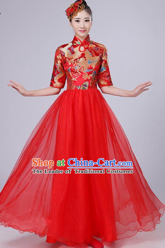 Traditional Chinese Style Modern Dancing Compere Costume, Women Opening Classic Chorus Singing Group Dance Satin Dragon Uniforms, Modern Dance Classic Dance Red Cheongsam Dress for Women