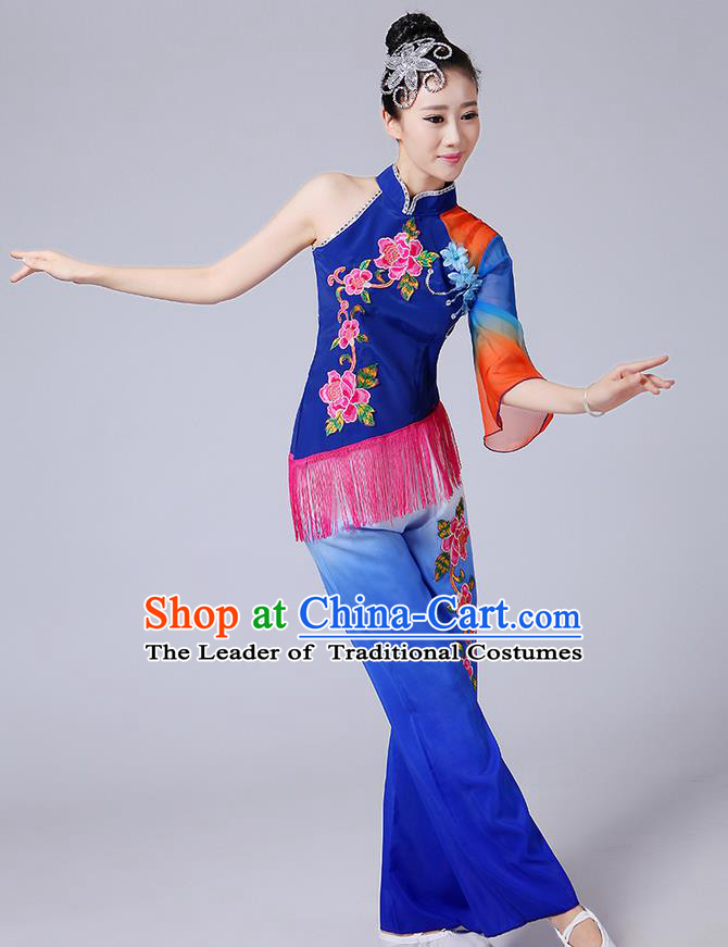 Traditional Chinese Yangge Fan Dancing Costume, Folk Dance Yangko Mandarin Sleeve Blouse and Pants Uniforms, Classic Dance Elegant Dress Drum Dance Blue Clothing for Women