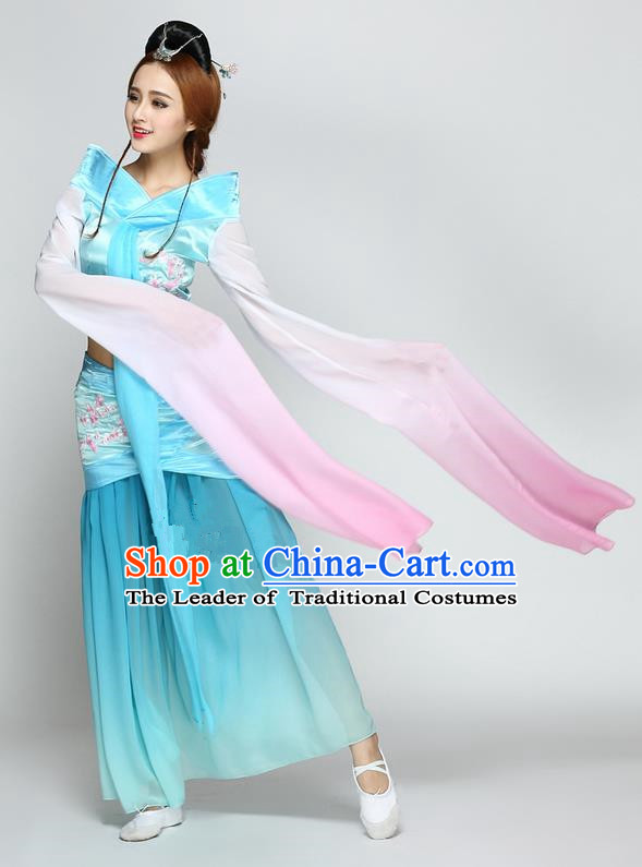 Traditional Chinese Ancient Yangge Fan Dancing Costume, Folk Dance Long Water Sleeve Uniforms, Classic Flying Dance Elegant Fairy Dress Drum Palace Lady Dance Blue Clothing for Women