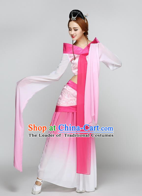 Traditional Chinese Ancient Yangge Fan Dancing Costume, Folk Dance Long Water Sleeve Uniforms, Classic Flying Dance Elegant Fairy Dress Drum Palace Lady Dance Pink Clothing for Women
