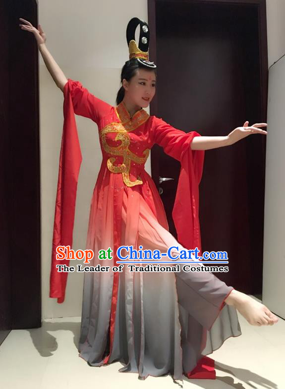 Traditional Chinese Ancient Yangge Fan Dancing Costume, Folk Dance Long Water Sleeve Uniforms, Tang Dynasty Classic Flying Dance Elegant Fairy Dress Drum Palace Lady Dance Clothing for Women