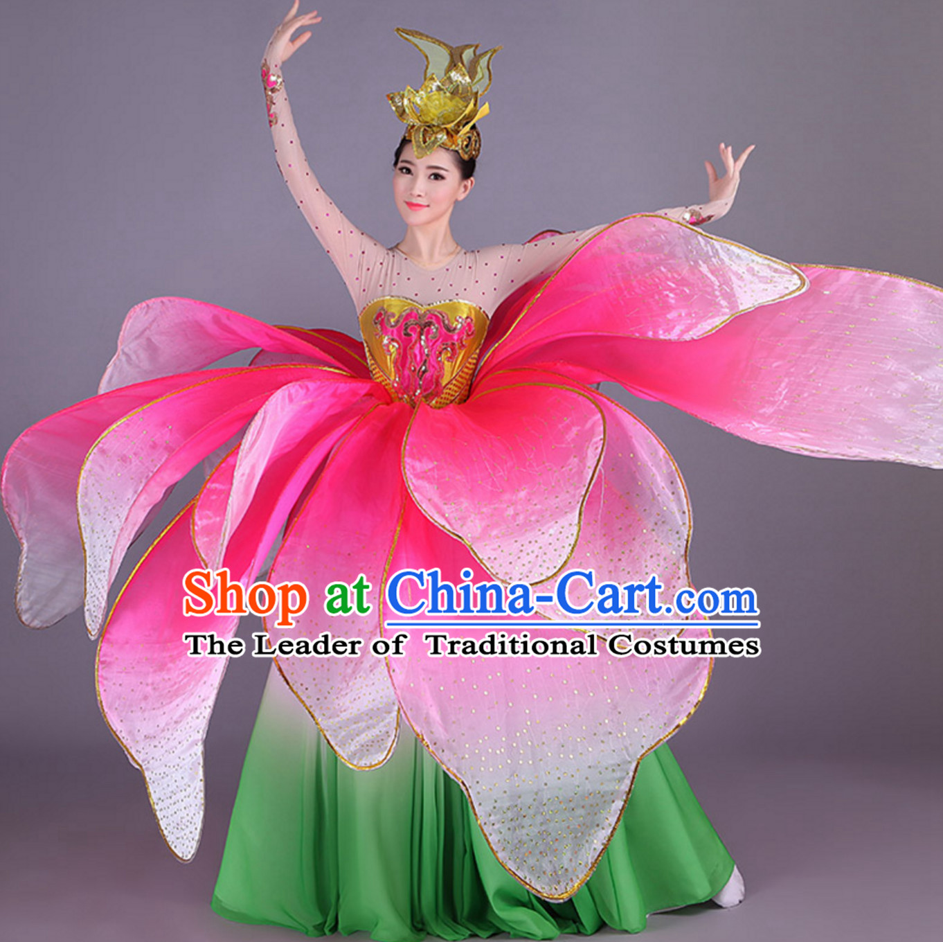 Green Chinese Professional Stage Performance Flower Dance Costumes Dancing Costume and Headgear Complete Set for Women