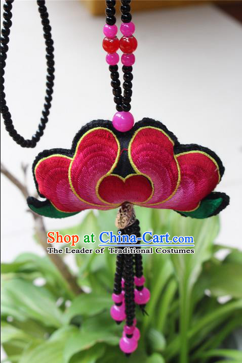 Traditional Chinese Miao Nationality Crafts Jewelry Accessory, Hmong Handmade Miao Silver Black Beads Tassel Double Side Embroidery Lotus Pendant, Miao Ethnic Minority Necklace Accessories Sweater Chain Pendant for Women
