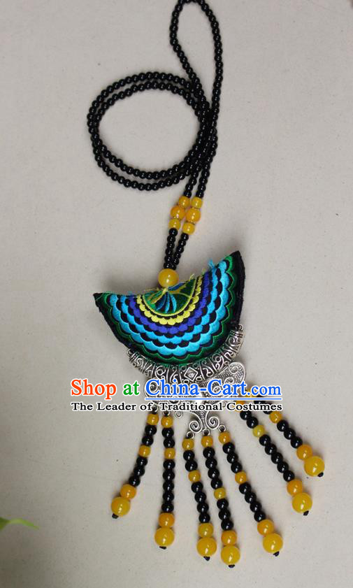 Traditional Chinese Miao Nationality Crafts Jewelry Accessory, Hmong Handmade Miao Silver Fish Beads Tassel Double Side Embroidery Pendant, Miao Ethnic Minority Necklace Accessories Sweater Chain Pendant for Women