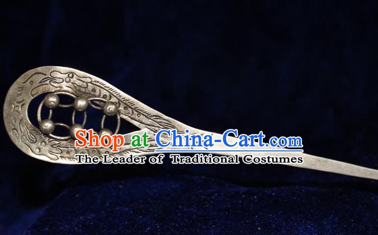 Traditional Chinese Miao Nationality Crafts Jewelry Accessory Classical Hair Accessories, Hmong Handmade Miao Silver Palace Lady Hair Sticks Hair Claw, Miao Ethnic Minority Hair Fascinators Hairpins for Women