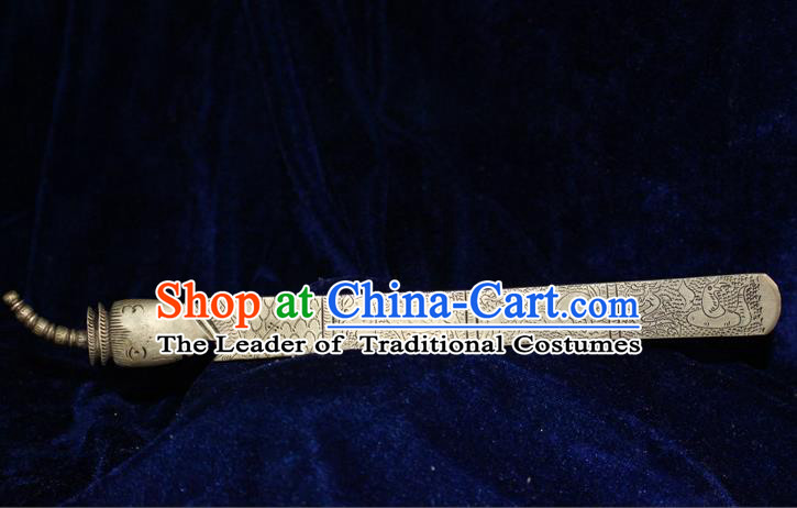 Traditional Chinese Miao Nationality Crafts Jewelry Accessory Classical Hair Accessories, Hmong Handmade Miao Silver Chinese Zodiac Palace Lady Hair Sticks Hair Claw, Miao Ethnic Minority Hair Fascinators Hairpins for Women