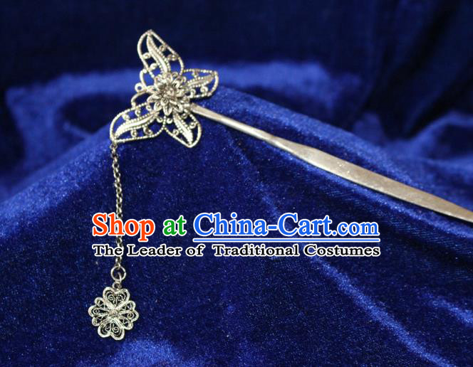 Traditional Chinese Miao Nationality Crafts Jewelry Accessory Classical Hair Accessories, Hmong Handmade Miao Silver Butterfly Palace Lady Tassel Hair Sticks Hair Claw, Miao Ethnic Minority Hair Fascinators Hairpins for Women