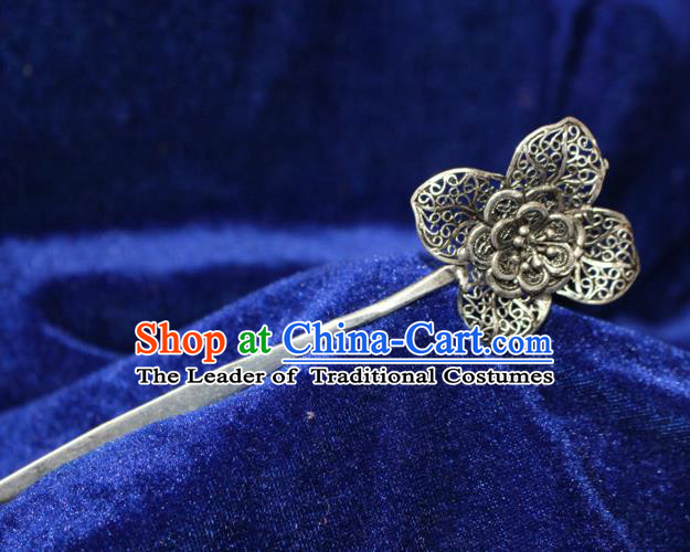 Traditional Chinese Miao Nationality Crafts Jewelry Accessory Classical Hair Accessories, Hmong Handmade Miao Silver Flower Palace Lady Hair Sticks Hair Claw, Miao Ethnic Minority Hair Fascinators Hairpins for Women