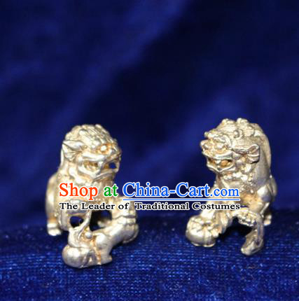 Traditional Chinese Miao Nationality Crafts Accessory, Hmong Handmade Miao Silver Double Lions Paper Weight, Miao Ethnic Minority Palace Silver Paperweight