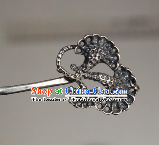 Traditional Chinese Miao Nationality Crafts Jewelry Accessory Hair Accessories, Hmong Handmade Miao Silver Palace Lady Hair Sticks Hair Claw, Miao Ethnic Minority Hair Fascinators Hairpins for Women