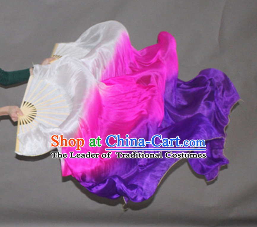 Color Transition Top Pure Silk 1.5 Meter Long Dance Fan Streamer