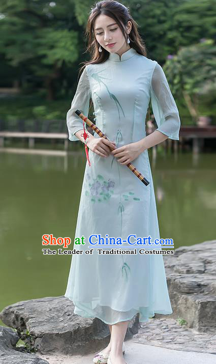 Traditional Ancient Chinese National Costume, Elegant Hanfu Hand Printing Brocade Dress, China Tang Suit Cheongsam Upper Outer Garment Blue Elegant Dress Clothing for Women