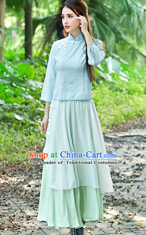 Traditional Ancient Chinese National Costume, Elegant Hanfu Embroidered Shirt, China Tang Suit Embroidered Butterfly Blue Blouse Cheongsam Upper Outer Garment Clothing for Women