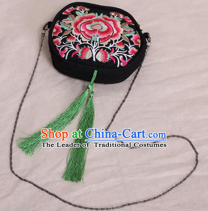 Traditional Chinese National Embroidered Crafts, Hmong Handmade Embroidered Handbag for Women