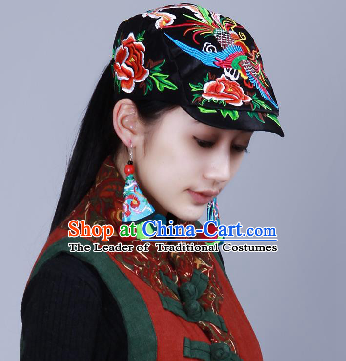 Traditional Chinese National Embroidered Phoenix Crafts Headgear, China National Minority Handmade Embroidered Black Cap for Women